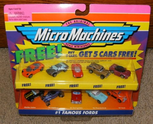 Micro Machines Toy Cars - Micro Machines Famous Fords #1 Collection with 5 Bonus Cars