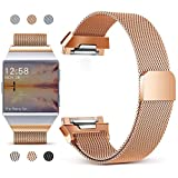 Hotodeal Band Compatible Fitbit Ionic Band, Milanese Loop Stainless Steel Mesh Replacement Band, Adjustable Fitness Strap Orange Small