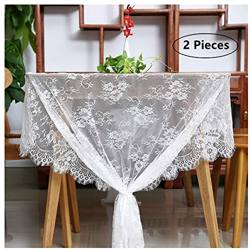 (B-COOL White Lace Tablecloth Exquisite Wedding Lace Fabric Vintage Embroidered Lace Overlay Perfect for Wedding Spring Summer Outdoor Party Event Decor Size 60