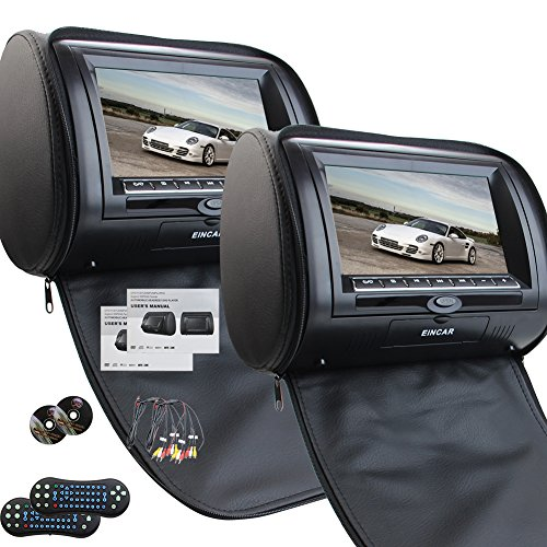 Universal Pair of Car Headrests with 7 Inch Dual DVD Player for Car Support...