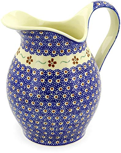 - Polish Pottery 7¾ Cup Pitcher (Sweet Red Flower Theme) + Certificate of Authenticity