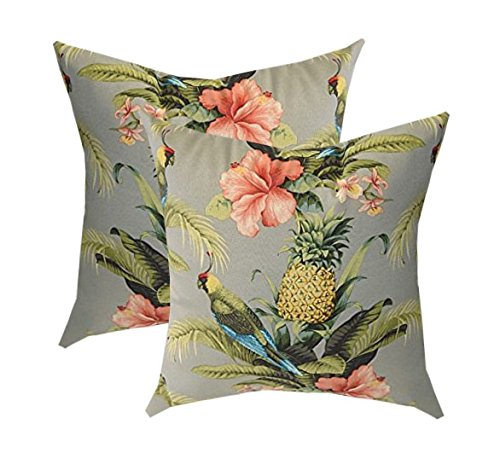 Set of 2 - Indoor / Outdoor Square Decorative Throw / Toss Pillows - Tommy Bahama Home Fabric - Grey / Gray Beach Bounty Tangelo - Tropical Bird, Pineapple, Floral (17