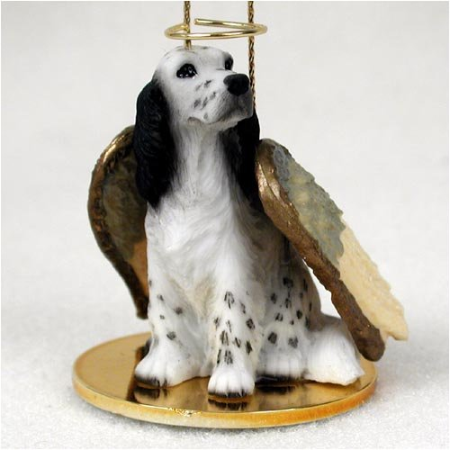 English Setter Angel Dog Ornament - Black - Setter Figurine English Dog