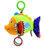 Stuffed Musical Rattle Fish Toy with Mirror and Crinkles for Toddlers Baby Stroller Hanging Toy
