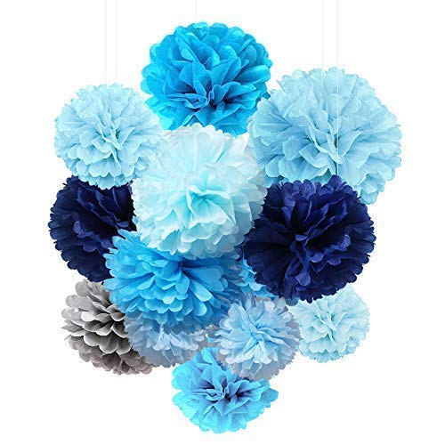 Tissue Paper Flowers Pom Poms Decorations - Bright Colorful Large Rainbow Craft Assorted Bulk Kit Hanging Wall for Big Wedding\ Birthday Party Decor (Blue Pack) -