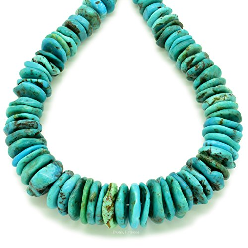 Bluejoy Genuine Natural Turquoise XL Graduated Free-Form Disc Bead 16-inch Strand for Jewelry Making (8mm-16mm) ()