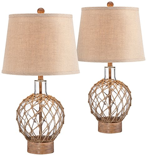 Rope and Glass Jug Table Lamp Set of 2 by 360 Lighting