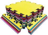 Kit Colorido 8 Placas Tapete Tatame EVA 50x50x1cm 10mm