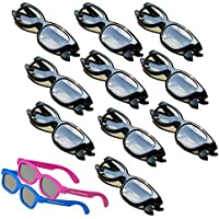 OFFICIAL Adult Passive Polarized 3D Glasses Pack for Passive 3D TVs Televisions from SONY, LG, Vizio, Toshiba, LG, Philips, Panasonic and JVC - also for use in Real-D 3-D Theaters - 10 Pairs - Includes 2 3DHeaven PREMIUM KIDS SIZED PAIRS!