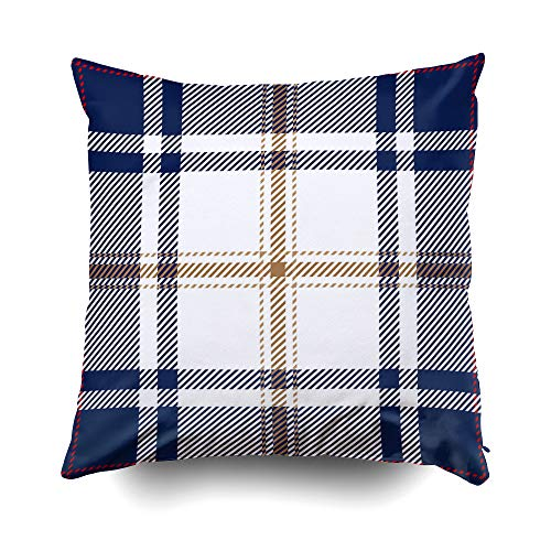 (GROOTEY Decorative Cotton Square Pillow Case Covers with Zippered Closing for Home Sofa Decor Size 16X16Inch Costom Pillowcse Throw Cover Cushion Blue and White Tartan Plaid Scottish Pattern)