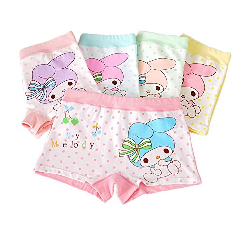 (Core Pretty Girls Cotton Underwear Soft Boy Shorts Kids Boxer Briefs Panties Cute Bunny Pattern Fancy Underpants (Pack of 5) (Melody, 6-8 Years))