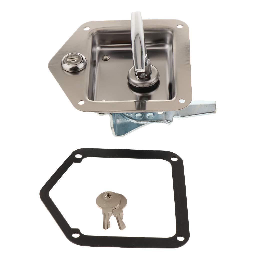 cerradura con junta y llave para camiones o autocaravanas Mango plegable de acero inoxidable para caja de herramientas Tubayia
