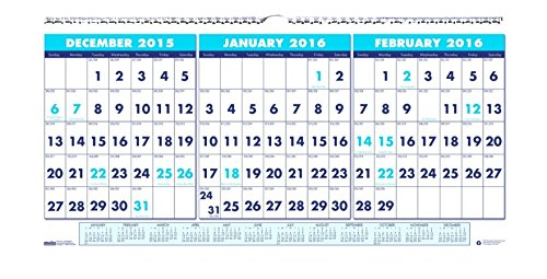 "House of Doolittle 2016 Three-Month Horizontal Wall Calendar, 17"" x 8"" (HOD3647-16)"