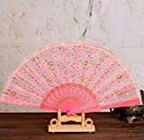 Pink Sequined Golden Lace Flower Decor And Held Fans Tulle Folding Fans Dance Fans Party Supplies For Gift Women Folding Hand Fan