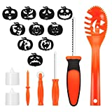 Halloween Pumpkin Carving Kit for Kids, Easy Halloween Pumpkin Carving Tools Kit – Includes 8 Carving Tools 2 LED Candles & 10 Carving Templates Review