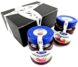Hero Premium Fruit Spreads 2-Flavor Variety: One 12 oz Jar Each of Red Raspberry and Strawberry in a BlackTie Box (2 Items Total)
