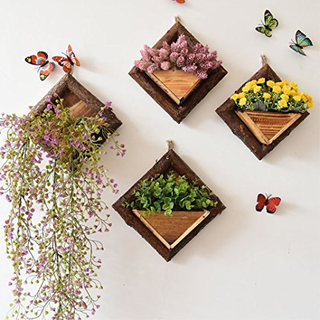 Candyqueen 1Pcs Wooden Handmade Hanging Vases Vintage Geometric Wall Decor Container Artificial Flower Planter Home Garden