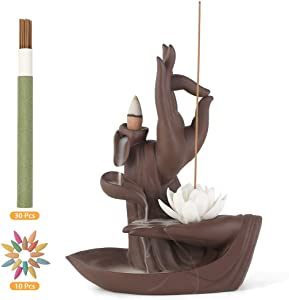 Backflow Incense Burner Holder Ceramic Buddha Small Waterfall Incense Holder Incense Cones Burner Censer with 30 Pcs Cones & 10 Pcs Sticks for Home Decor, Yoga, Zen Tao, Gift(Lotus Style)
