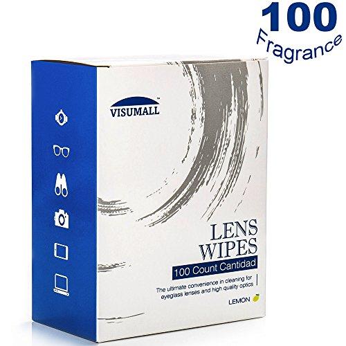 Visumall 100 Lens Wipes   Pre Moistened Cleaning Wipes Portable Travel Cleaner With Light Fragrance Nonirritating  Lemon
