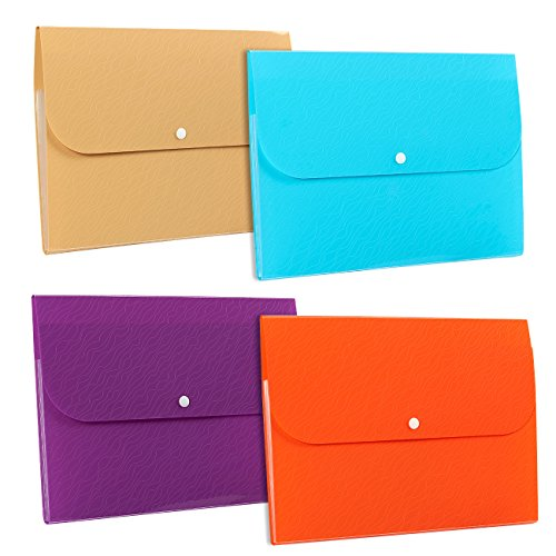 4-Pack Expanding File Folders - Accordion File Folder Organizers, 5-Pocket A4 Size Expandable File Folders with Button Closure, 4 Assorted Colors - 12.8 x 9.8 x 0.8 Inches (Accordion Folder Tax)