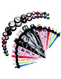 BodyJ4You 32PC Gauges Kit Ear Stretching 14G-0G Multicolor Marble Acrylic Taper Plug Body Piercing
