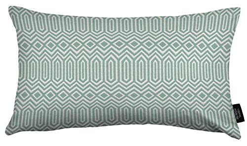 McAlister Textiles Colorado | Woven Pillow Cover Sham in Duck Egg Blue | Lumbar 16x24 Inches | Tribal Geometric Decorative Cushion Case for Bed and Couch Modern Aztec Accent, Moroccan Decor