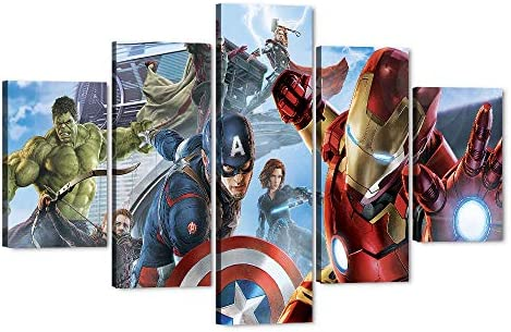 5 Piece Marvel Avengers Canvas Wall Art