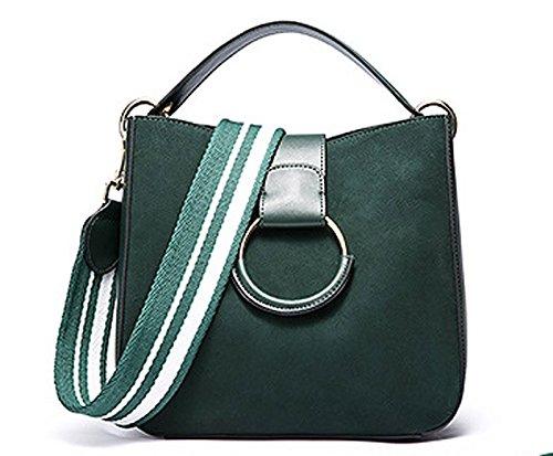 GHMM Bolsos de cuero de vaca Vintage Scrub Bags correa ancha de gran capacidad Messenger Crossbody Bag (Color : Caramel colour) Verde oscuro