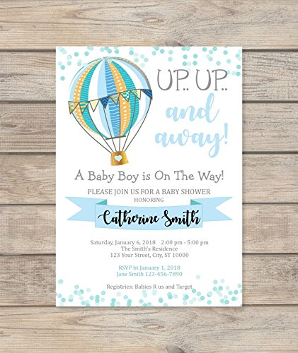 Blue Hot Air Balloon Baby Shower Invitations, Boy Baby Shower Vintage Hot Air Balloon Invites, Up Up And Away Invitations]()