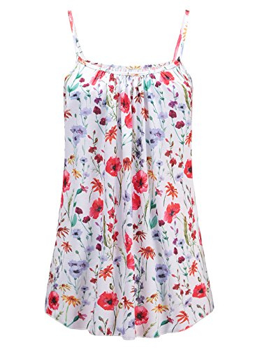 7th Element Womens Plus Size Cami Basic Camisole Tank Top (White Red Floral,3XL)
