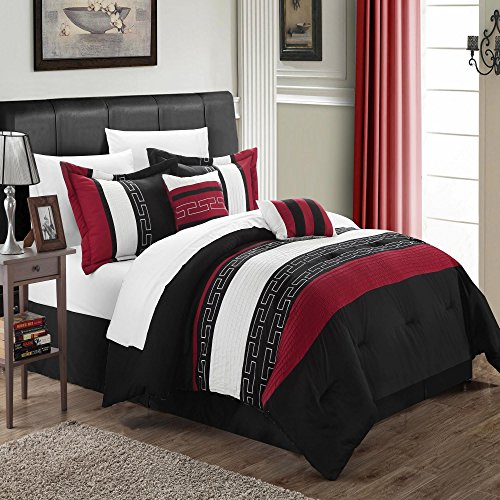 (Carlton Black, Burgundy & White Queen 10 Piece Comforter Bed In A Bag Set)