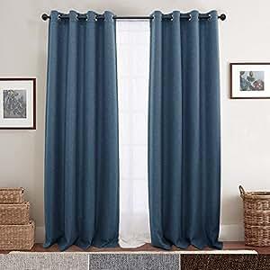 Textured Linen Eyelet Curtain Panels for Bedroom Room Darkening Window Panels Blackout Curtains for Living Room, 160CM Blue
