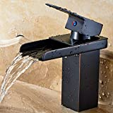 Fyeer Waterfall Style Bathroom Sink Faucet, Single Handle, Oil Rubbed Bronze Finish, Contemporary Design, Lead Free Certified, Hot & Cold Mixer, Easy Installation