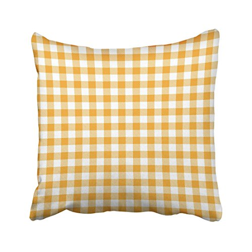 (Emvency Decorative Yellow Gingham And Buffalo Check Plaid Tablecloths Stamp For Sleepwear Throw Pillow Case Cases Cover Cushion Covers Retro Pillowcases 18x18 Inches Double Sided)
