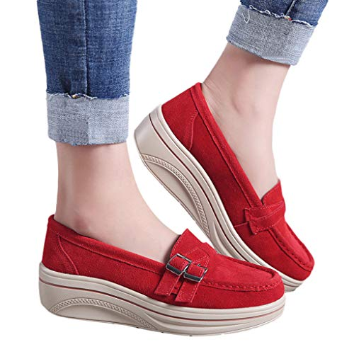 Red Plaid Creeper Shoe - TnaIolral Women Muffin Shoes Summer Leather Thick Bottom Shoes Creepers Moccasins (US:6.5, Red)