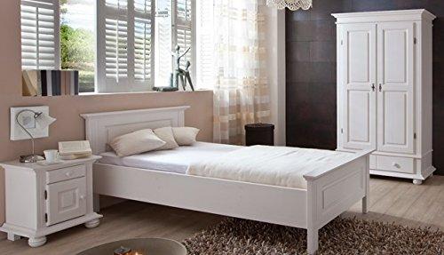 3.3.2.2581: schönes Komplettschlafzimmer - Gästezimmer - Fichte massiv - Schlafzimmerset - weiss lasiert