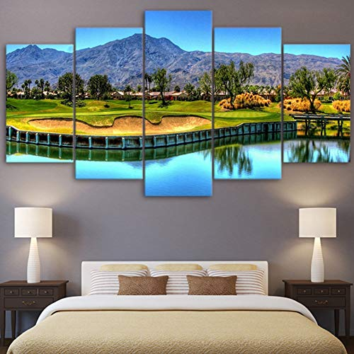(HIOJDWA Paintings Modern Wall Art Paintings Hd Printed Canvas Home Decor Lake Pictures Frame 5 Pieces Mountain Golf Course Landscape Poster)