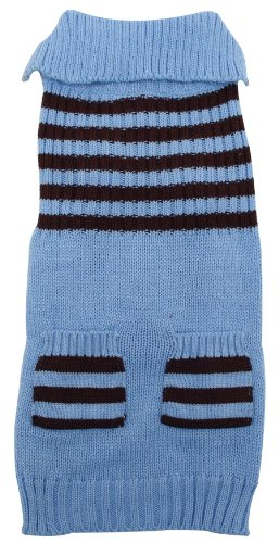 - Dogit Striped Dog Sweater, X-Large, Ice Blue