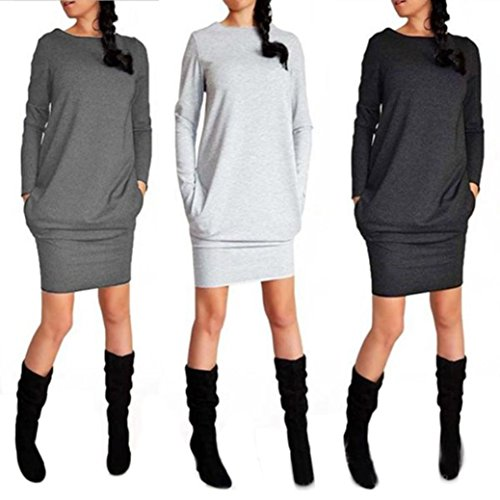 Robe Robe Robe Pull Robe Manches Mini Robe Club t Rond Cou GongzhuMM Robe Automne Retro Mince Robe Longues Soire Hiver de Printemps de Pulls Gr Sexy Gris Fonc Cocktail Femmes de Loisirs Robes Sexy Fte XL Loose TqrYT0
