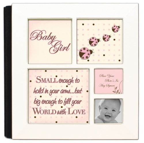 (Small Enough To Hold Baby Girl Ivory Cottage Garden Photo Album with Frame )