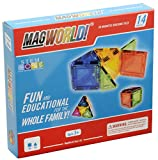 Magworld Best Deals - MagWorld Toys Magnetic Construction Rainbow Colors -14 Piece Set. Create in 2D and 3D. STEM Play Age 3 and Up.