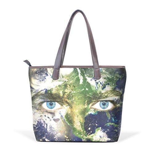 Coosun Eyes Land Pu Handle Large Tote Leather Shoulder Bag Tote Bag L (33x45x13) Cm Muticolour