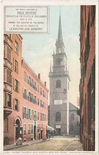 Historic Pictoric Postcard Print | Christ Church, Old North, Boston, Mass, 1908 | Vintage Fine Art