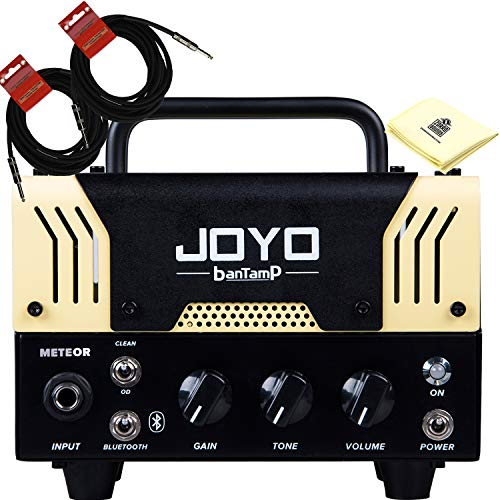 JOYO Meteor Bantamp 20w Pre Amp Tube Hybrid Guitar Amp head Bundle with Built in Cab Speaker Amp Simulation and Bluetooth music playing with 2 Instrument Cable and Zorro Sounds -