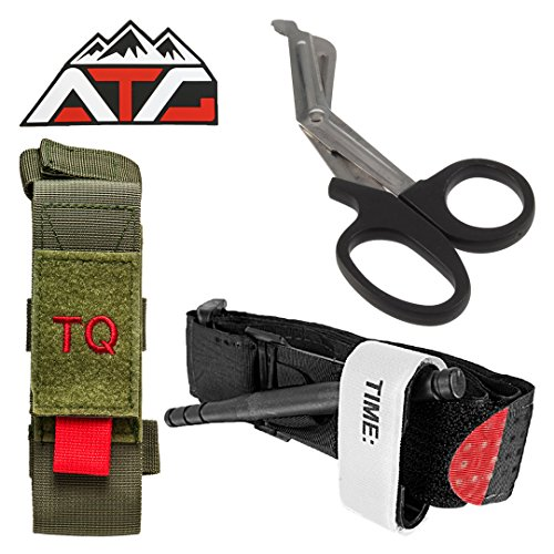 Tactical Tourniquet & Trauma Medical Shear Pouch MOLLE PALS Duty Belt Loop EMT EMS + ATG PVC Rubber Patch (Pouch Only, Green)