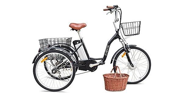 Triciclo eléctrico Jorvik de 24 pulgadas, para adultos, de aluminio, 250 W o 36 V, negro: Amazon.es: Deportes y aire libre