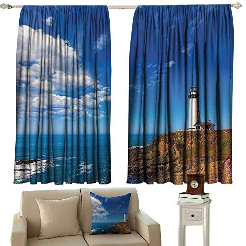 - living room curtains Lighthouse Decor Collection,California Pigeon Point Lighthouse in Cabrillo Coastal Highway State Route Image Print,Blue White 72