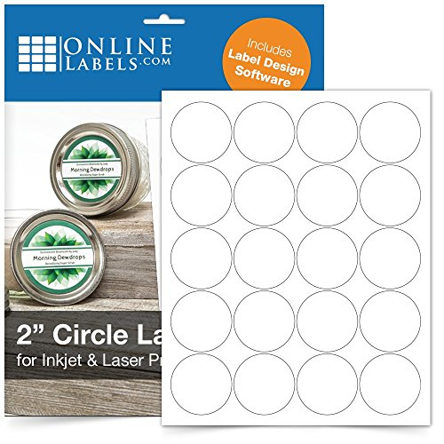 2 Inch Round Labels - Pack of 2,000 Circle Stickers, 100 Sheets - Inkjet/Laser Printer - Online Labels ()