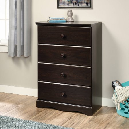 Sauder Storybook 4-Drawer Chest, Jamocha Wood, Drawers with Metal Runners and Safety Stops