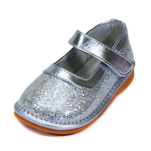 HLT Toddler/Little Kid Girl Sparkling Silver Squeaky Shoe [US 4 / EU 20]